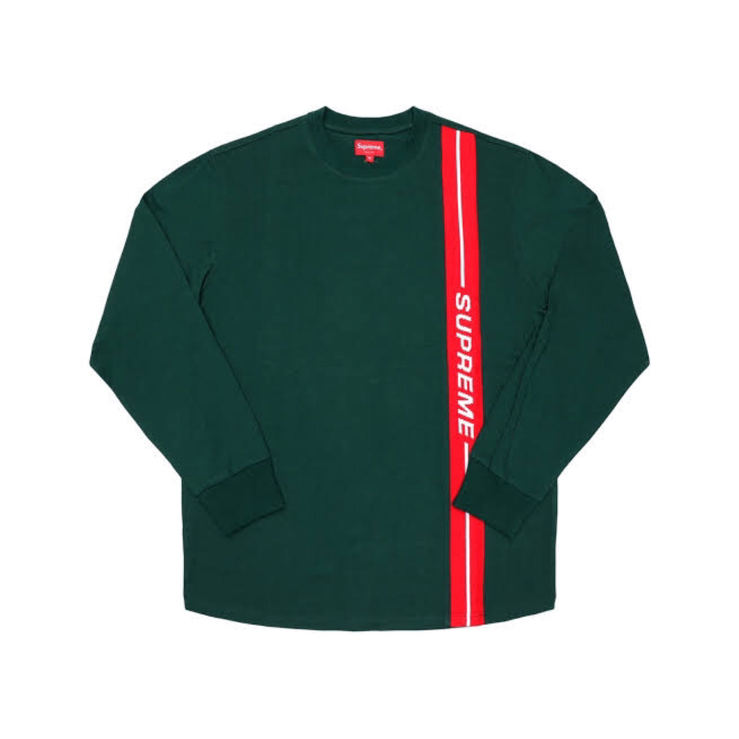 Supreme Vertical Logo Stripe L/S Tee - Dark Green (FW18)