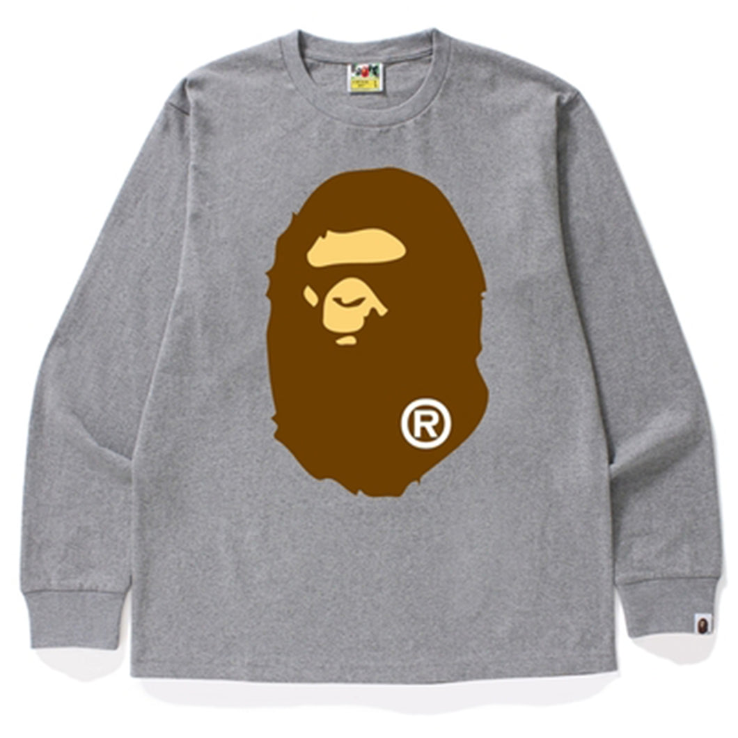 A Bathing Ape Long Sleeve T-Shirt Big Head - Grey