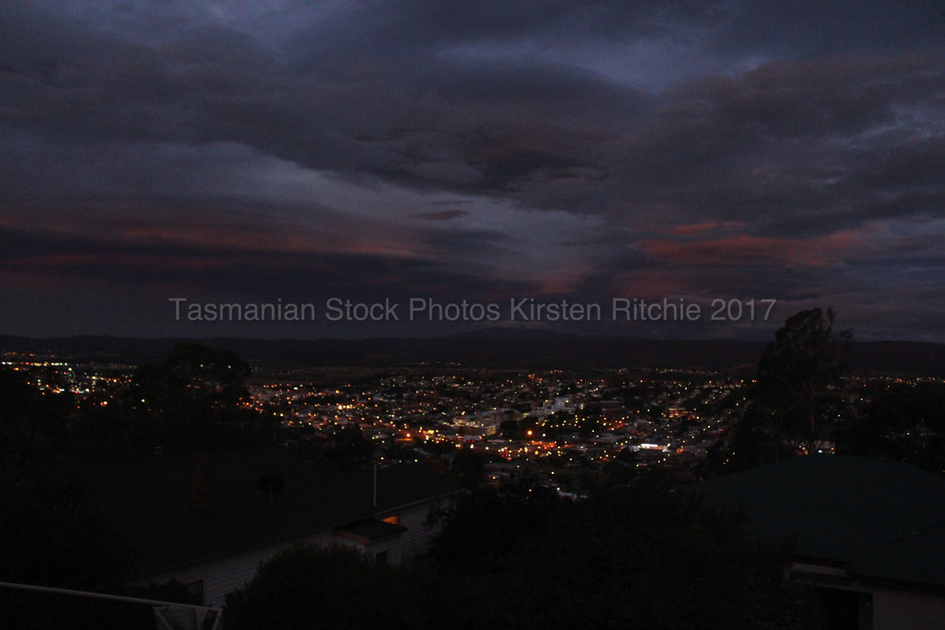 NIGHT VIEW OVER LAUNCESTON - TASMANIA