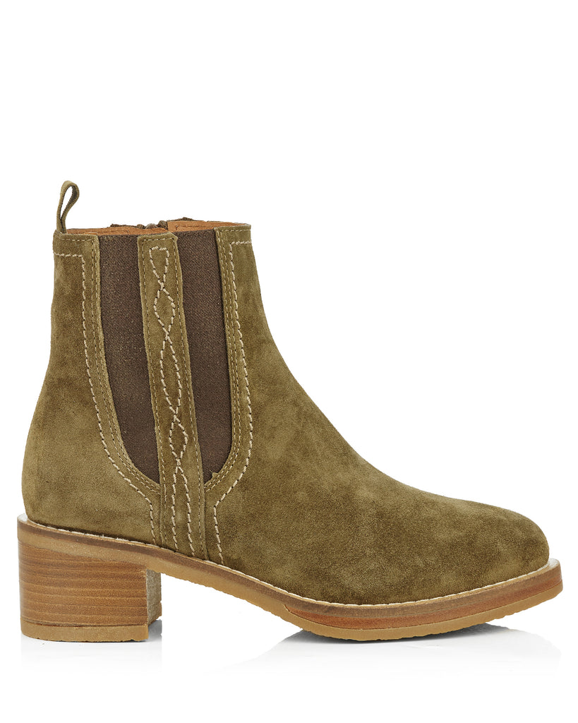 Madame 4176 Khaki Suede Ankle Boots
