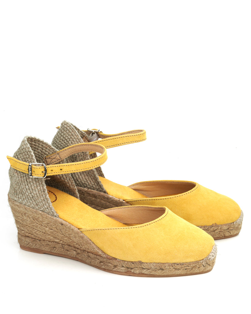 eed55dd9a42 Lloret 5 Yellow Suede Wedge Espadrille