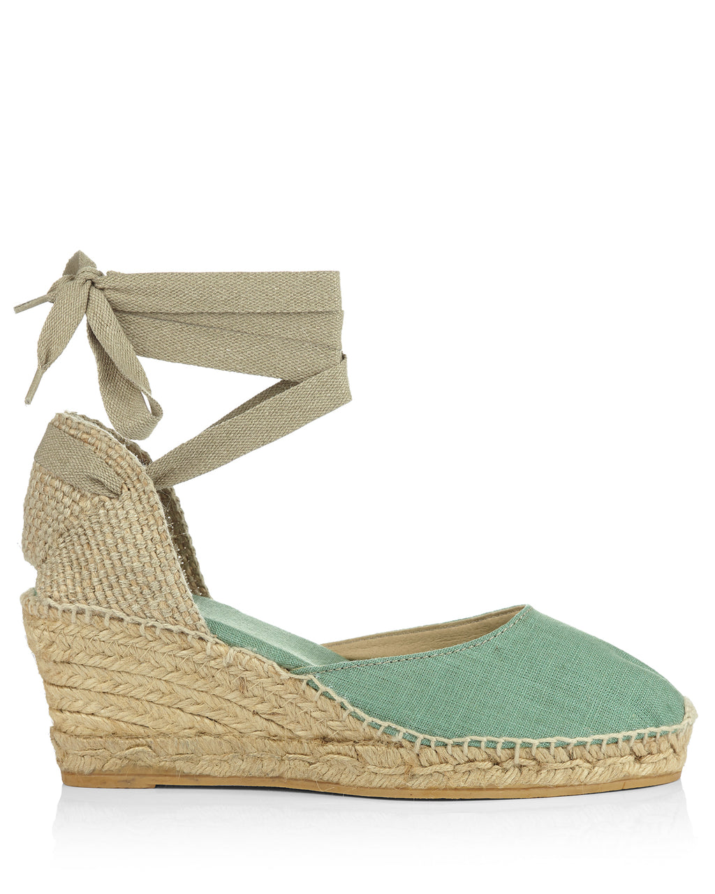 Calonge Mint Fabric Tie Up Espadrilles