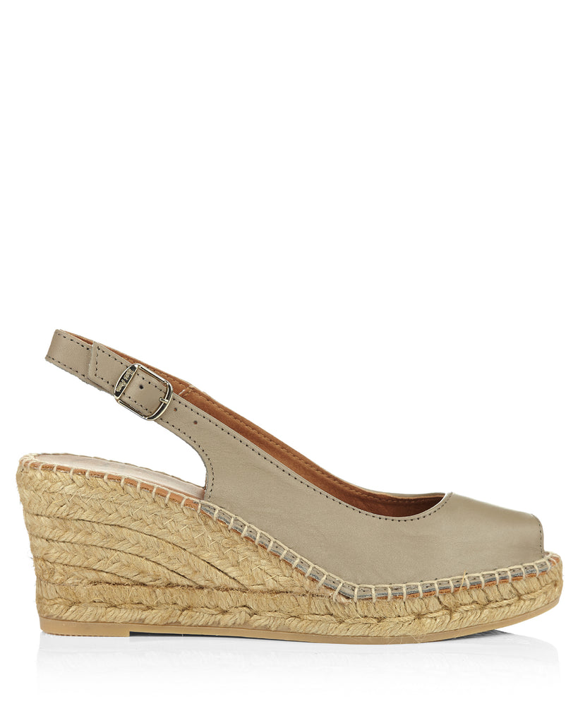 Croacia Taupe Leather Espadrilles