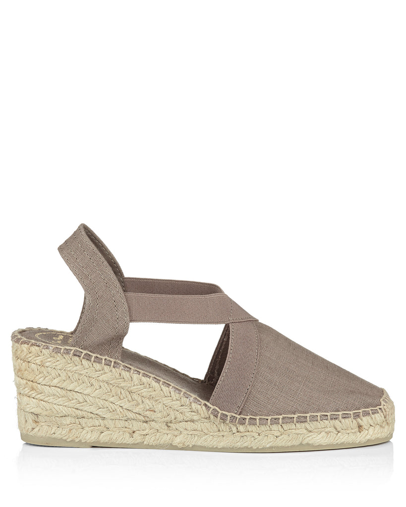 Ter Taupe Linen Wedge Espadrille