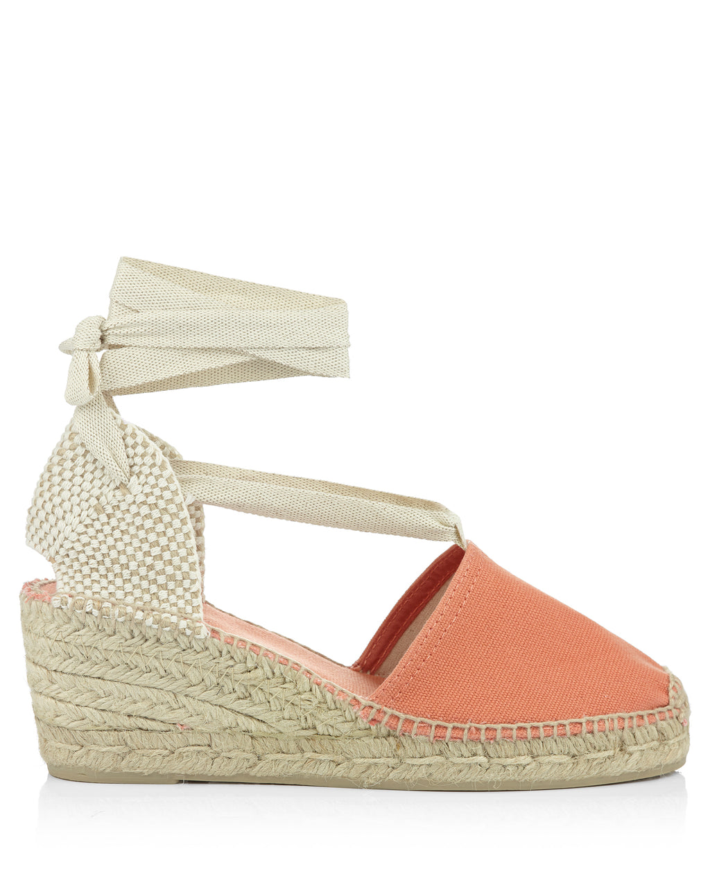 Valencia Salmon Pink Fabric Tie Up Espadrilles
