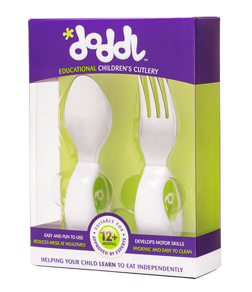 Doddl Toddler two piece Cutlery Set (Spoon, Fork) for Children - three colours