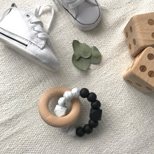 Load image into Gallery viewer, AST + CO Astandco Ast and co wooden silicone teether white granite, mustard, grey, rainbow, safe baby teething toy melbourne australia tidy tot