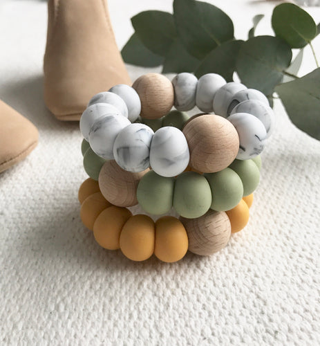 Astandco AST + CO teething toy teethers mustard olive marble white tidy tot melbourne Australian handmade baby toy gift shop small