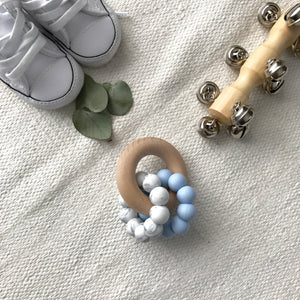 AST + CO Astandco Ast and co wooden silicone teether white granite, mustard, grey, rainbow, safe baby teething toy melbourne australia tidy tot marbel blue turquoise seafoam