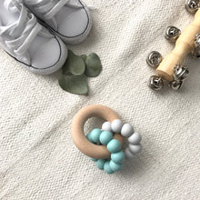 Load image into Gallery viewer, AST + CO Astandco Ast and co wooden silicone teether white granite, mustard, grey, rainbow, safe baby teething toy melbourne australia tidy tot marbel blue turquoise seafoam