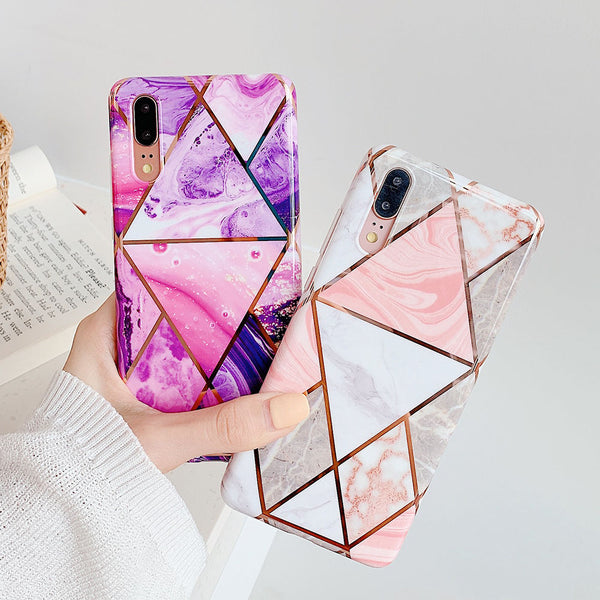 Geometric Purple Marble Huawei Galaxy Case