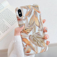 Golden Tropical Leaves iPhone case