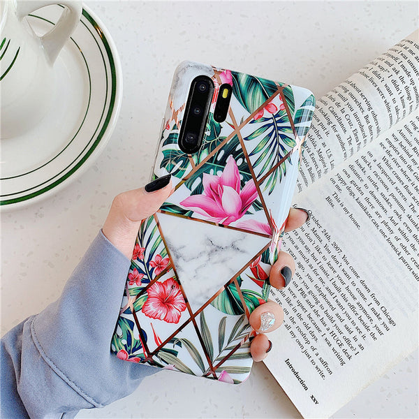 Flowers & Leaves Geometric Pattern Huawei Case
