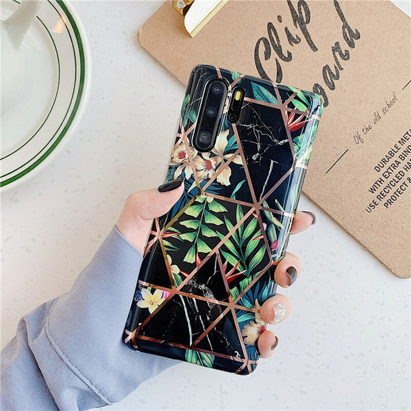 Flowers Geometric Black Pattern Huawei Case