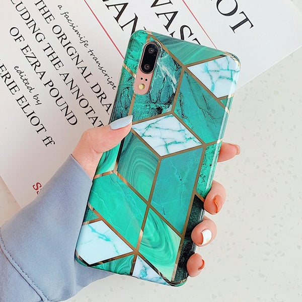 Geometric Green Marble Huawei Case