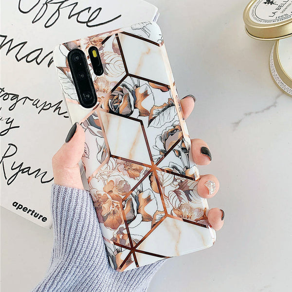 Flowers Geometric Gold Pattern Huawei Case