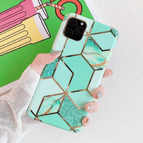 Geometric Green Pattern iPhone Case