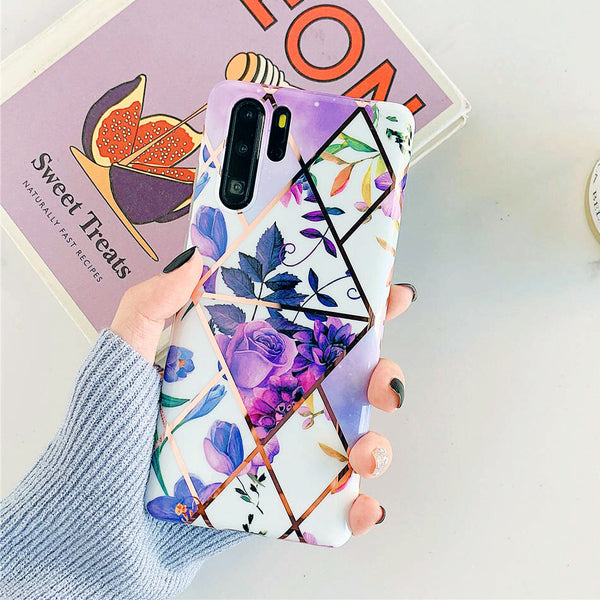 Flowers Geometric Purple Pattern Huawei Case