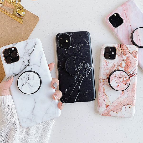 Marble Pattern iPhone Case + PopSocket Holder