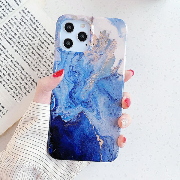 Blue Fluid Pattern iPhone Case