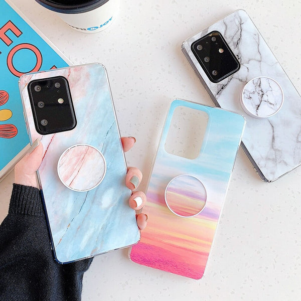 Shiny Marble Samsung Galaxy Case + PopSocket Holder