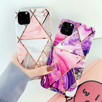 Geometric Purple Marble iPhone Case