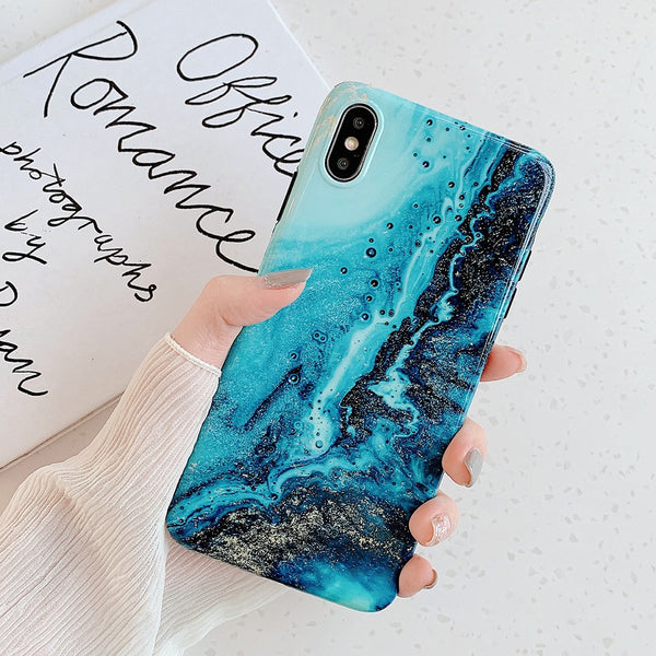 Turquoise Fluid Pattern iPhone Case