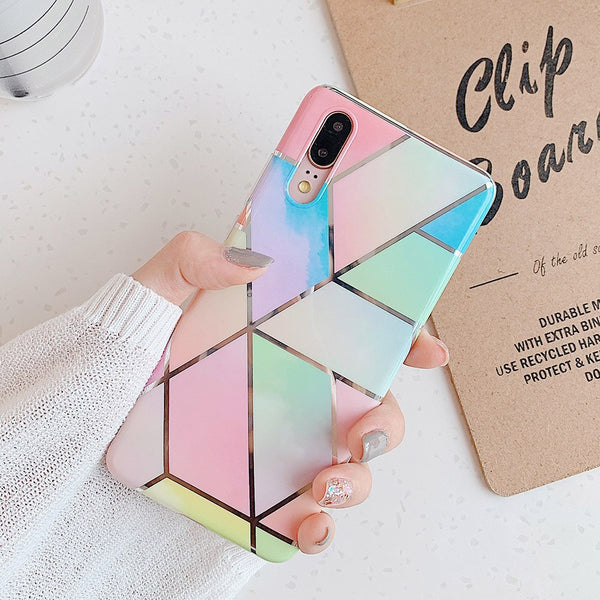 Rainbow Geometric Pattern Huawei Case