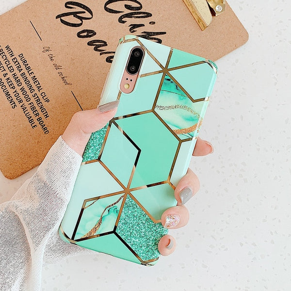 Geometric Green Pattern Huawei Case