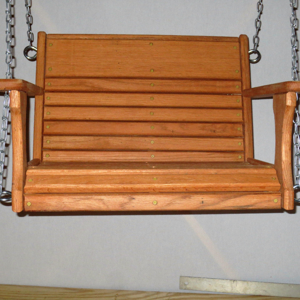 Classic Wood Oak Chair Swing -22 Inch Wide Seat
