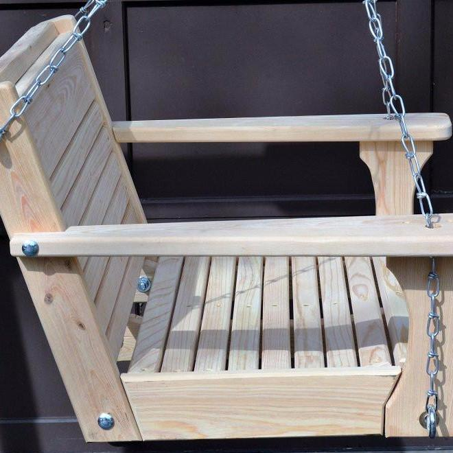 Cypress Wood Chair Swing/22 Inch Seat/ Chain