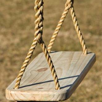 "Image of Premier Wood Tree Swing is made of yellow pine and the corners and edges have been rounded and sanded. Has Thompson's Water Seal applied to protect wood. The Premier Wood Tree Swing rope has been hand spliced at bottom, comes with 12 feet of 5/8"" Polypropylene rope per side Wood Tree Swing"