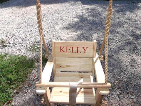 Image of Custom engraved toddler swing