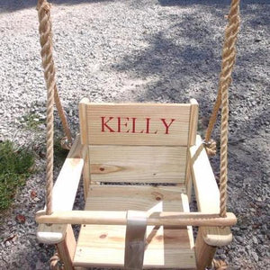Toddler Swing Cypress Wood Engraving