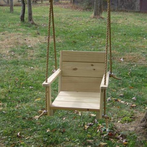 "Chair Wood Tree Swing (16"" wide seat) Free engraving for a limited time"