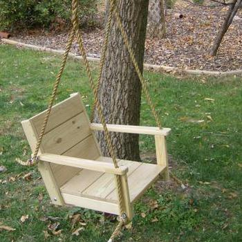 "Adult Patio Wood Tree Swing Chair (16"" wide seat)"