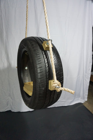 Recycled, Old-Fashioned Tire Swing Side View