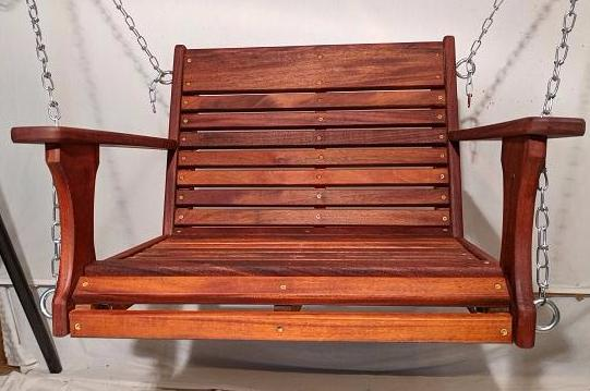 Mahogany Chair Swing with chain hanging kit, Hand  Rub oil finish