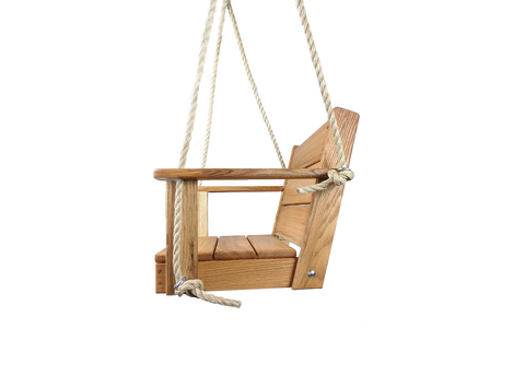 "Image of  Chair Wood Tree Swing can be used on your porch, patio, or you can hang in your favorite tree. Wood Chair Swing is made from Red Oak Wood, measures 16"" x 16"" x 15"" . Free Shipping in USA"