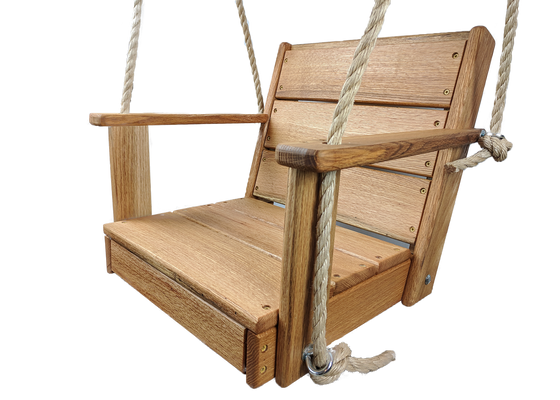 "16"" Red Oak Wood Rope Chair Swing"
