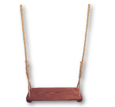 Image of stained oak swing