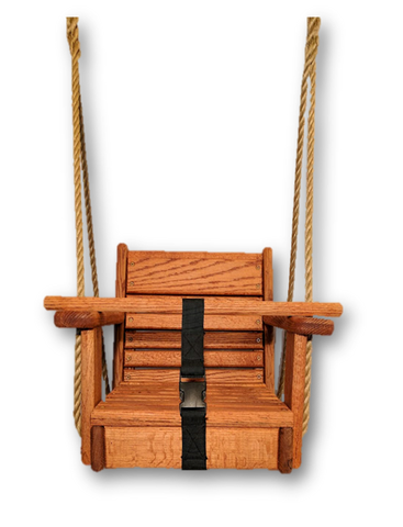 Image of Red Oak Wood Toddler Swing