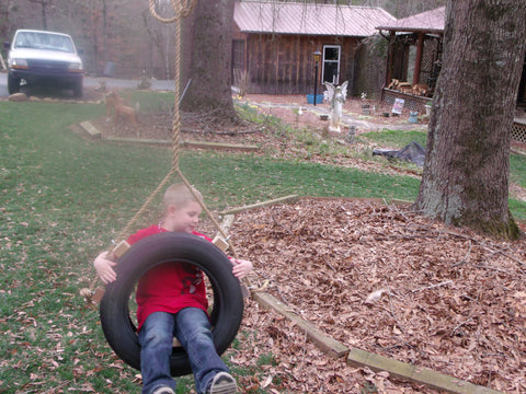 Image of Recycled, Old-Fashioned Kids Tire Swing