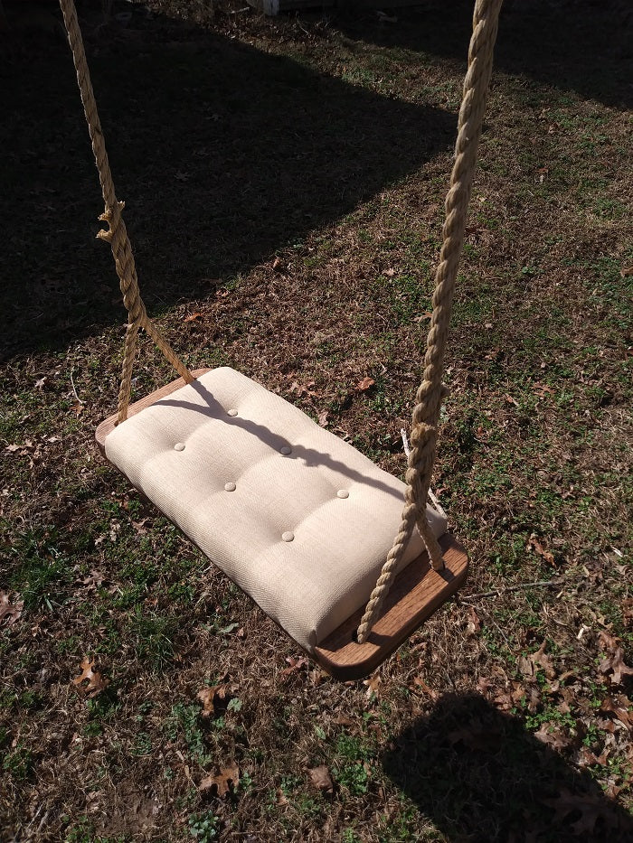 Tan Upholstered Tree Swing