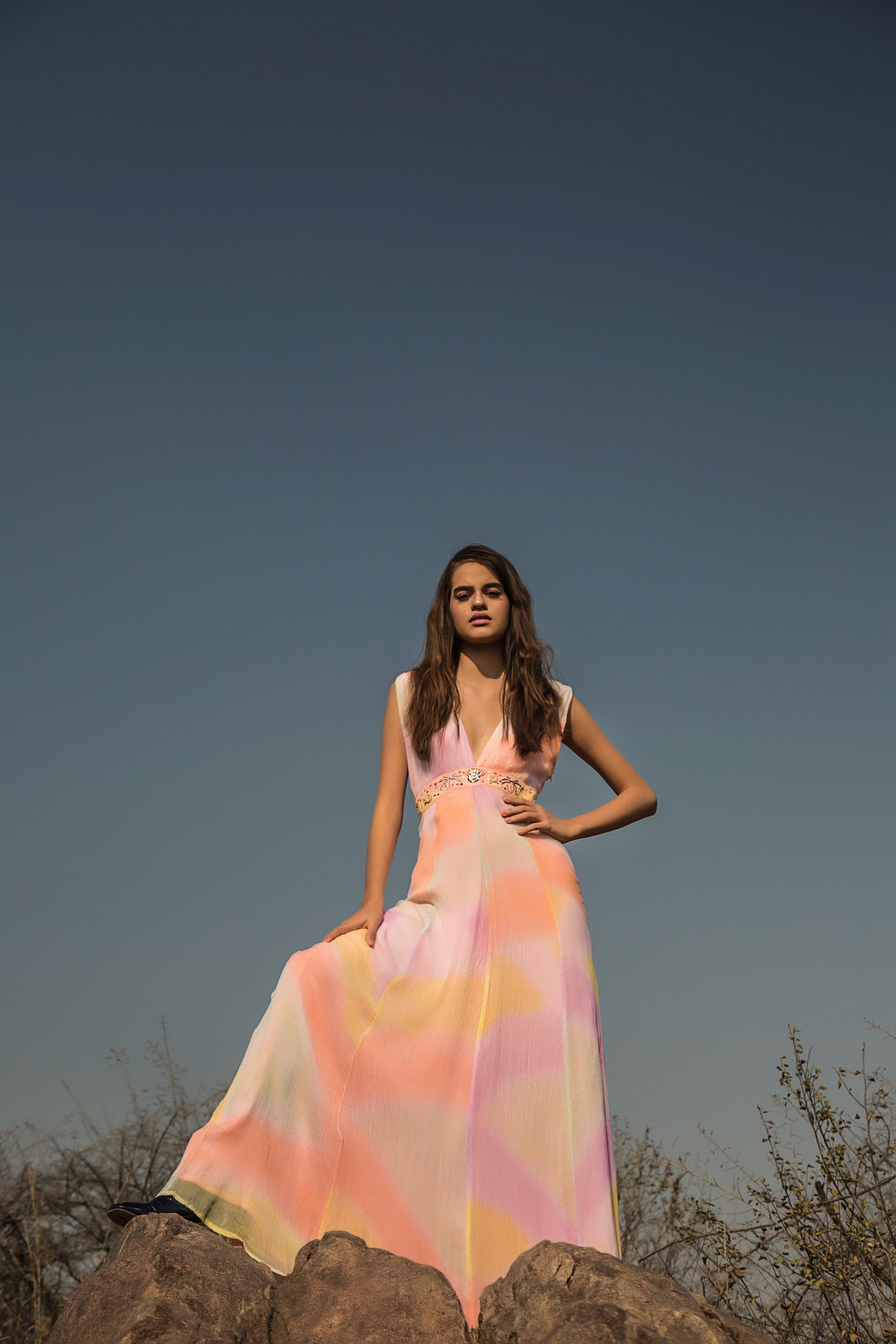 Hand-painted Pastel Rainbow Gown