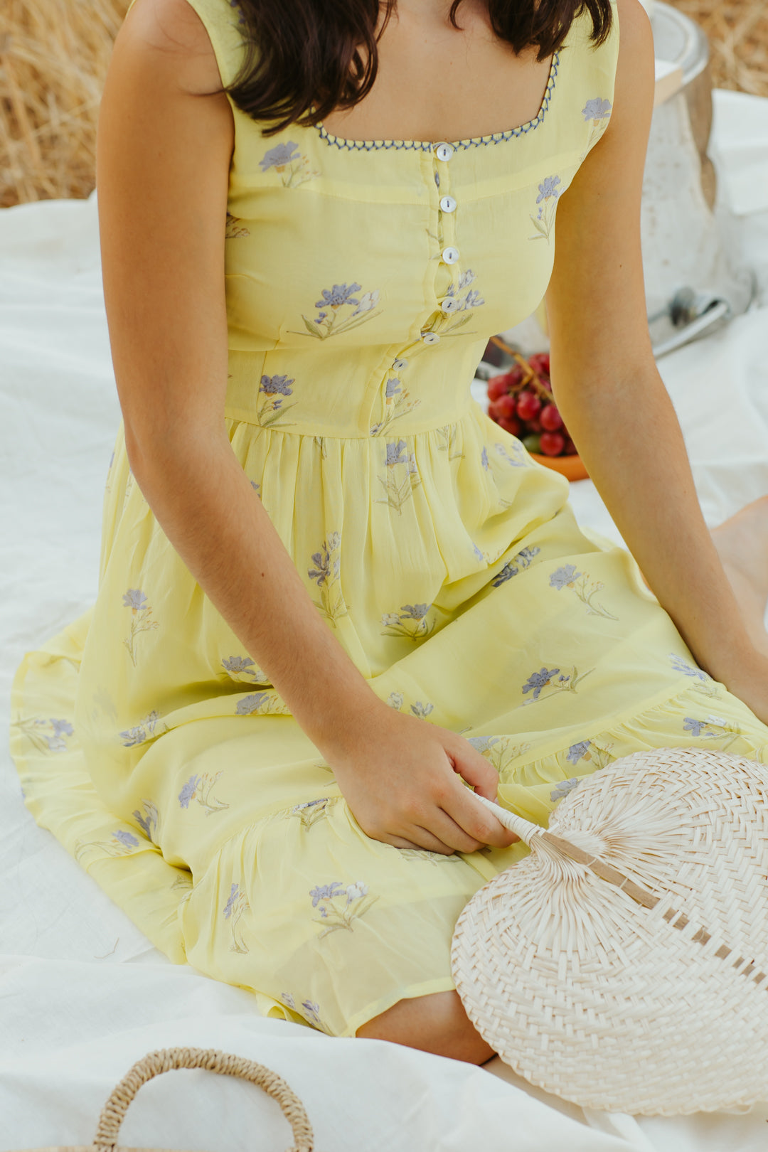 Lemon Lavender Midi Dress