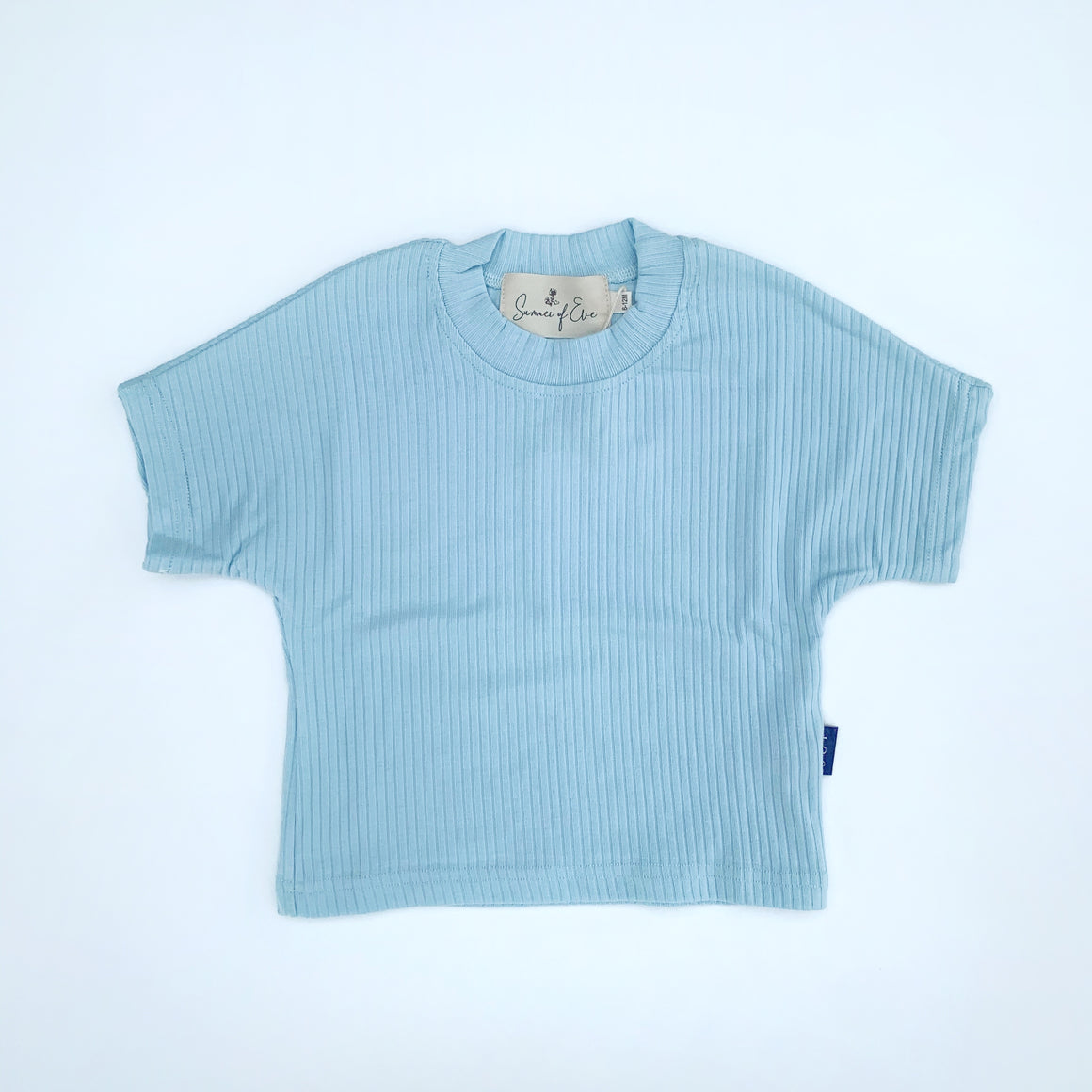 sky blue cotton rib tee