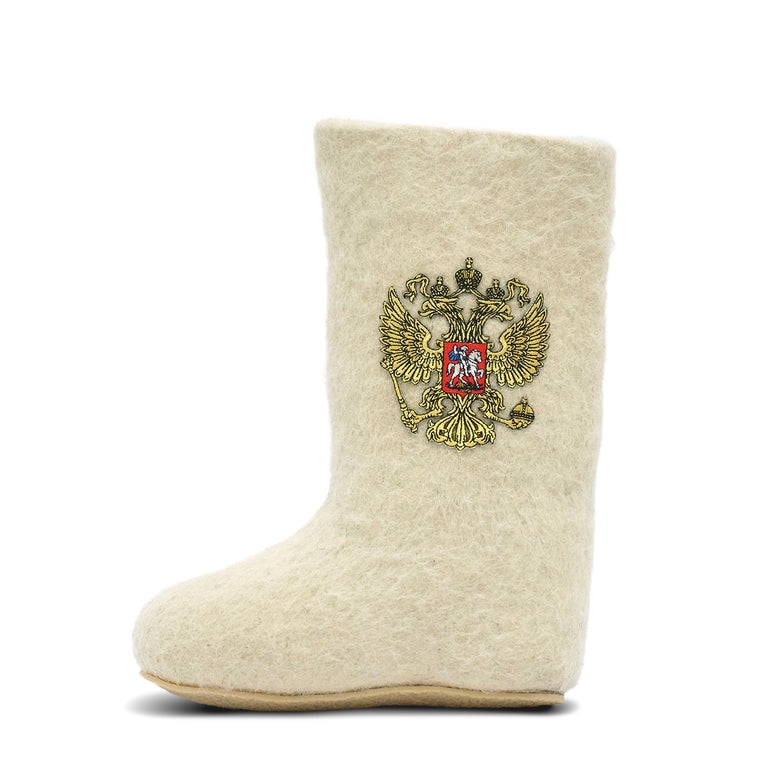 Valenki Coat of Arms of Russia White 21cm