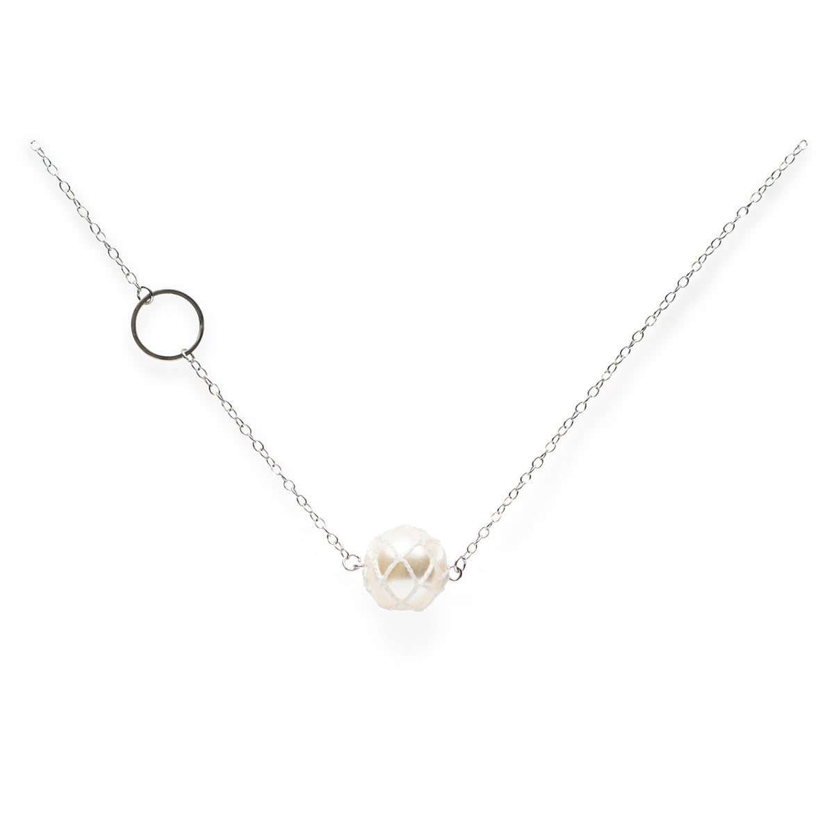 Luna, Crochet Pearl Long Necklace Silver