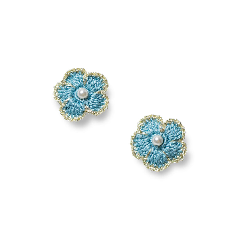 Blossom Golden Crochet Pierce Blue